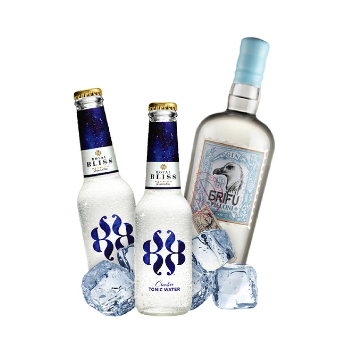 Royal Bliss Royal Blue Navy - Gin Tonic Cocktail Kit per 10 persone