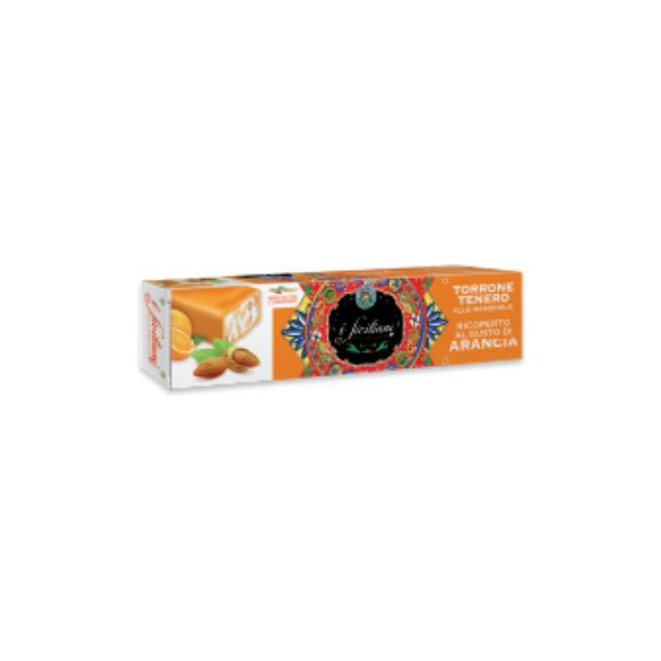 Torrone Tenero alle Mandorle Ricoperto al Gusto Arancia - Senza Glutine (150 g)