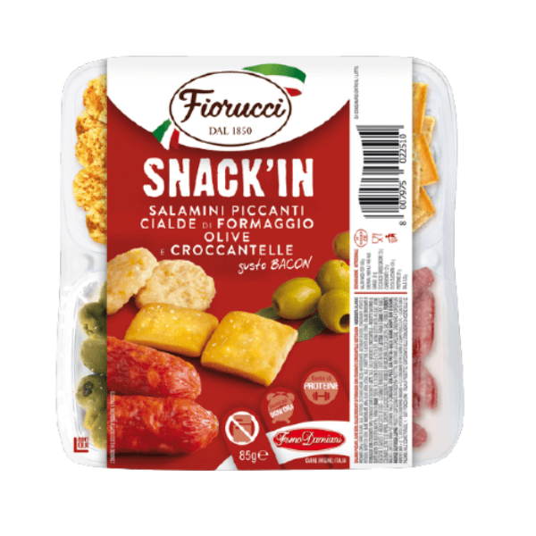 Snack'In Poker - Salamini Piccanti, Cialde di formaggio, Olive e Croccantelle Gusto Bacon (85 g)