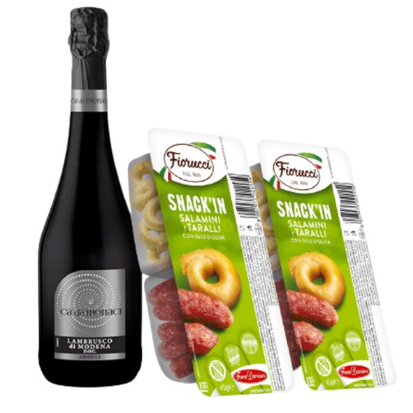 Kit Aperitivo - Lambrusco di Modena DOC Amabile e Snack'In Combo Salamini e Taralli Con Olio D'Oliva (45 g)