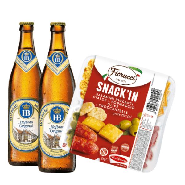 Kit Aperitivo - Hofbräu e Snack'In Poker Salamini Piccanti, Cialde di formaggio, Olive e Croccantelle Gusto Bacon (85 g)