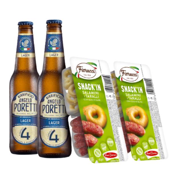 Kit Aperitivo - Poretti e Snack'In Combo Salamini Piccanti e Taralli Con Olio D'Oliva (45 g)