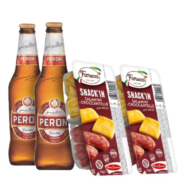 Kit Aperitivo - Peroni e Snack'In Combo Salamini e Croccantelle Gusto Bacon (45 g)