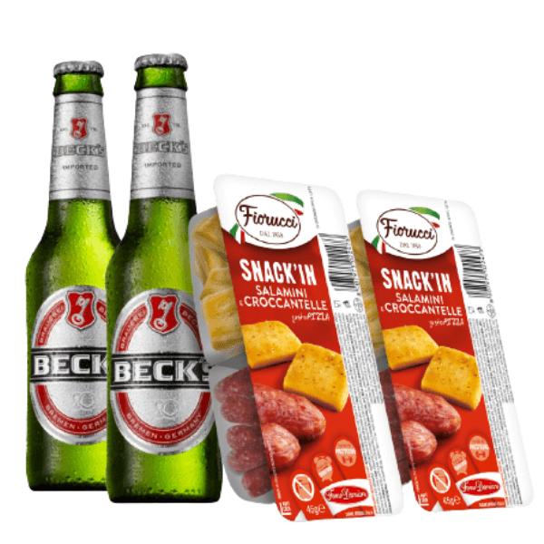 Kit Aperitivo - Beck's e Snack'In Combo Salamini e Croccantelle Gusto Pizza (45 g)