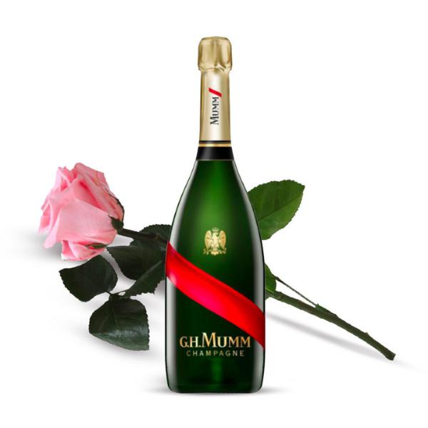 Kit Festa della Mamma - Champagne con una Rosa